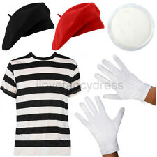 FRENCH MIME ARTIST FANCY DRESS COSTUME TOP BERET HAT GLOVES AND FACE PAINT