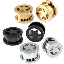 Pair Fashion Steel Star Ear Tunnels Plugs Ear Gauge Ear Body Piercings Jewelry