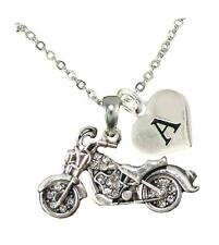 Custom Motorcycle Silver Chain Necklace Choose Initial Charm Harley Goldwing
