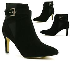 Ladies Womens Suede Pull On Mid High Block Heels Pixie Ankle Boots Evening Shoes