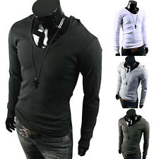 Fashion Mens Men Crew Neck Long Sleeve Hooded Casual T-Shirt Tops Tee Shirts