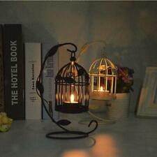 Black/White Hanging Birdcage Candle Holder Tealight Candlestick Stand Decoration