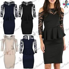 Womens Bodycon Ladies Floral Lace Sleeve Peplum Frill Cold Shoulder Midi Dress