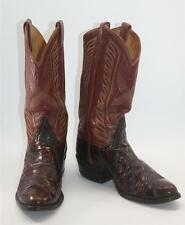 Vintage Tony Lama Men's Brown / Red Leather Western Cowboy Boots Sz 9.5 D Shoes