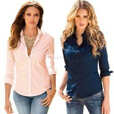Womens Fashion Slim Long Sleeve Blouse Button Down Shirt Top Casual Solid Blouse