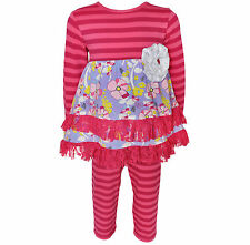 AnnLoren Girls Boutique Pink Floral Striped Dress with Leggings 12/18 mo - 9/10