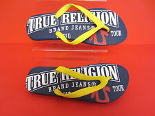 True Religion Mens Toe Post Flip Flops Blue or Black Sizes 6 x 11 (R3A)