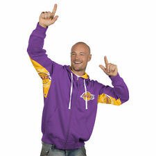 """LOS ANGELES L.A. LAKERS """"ARMS UP"""" Hooded Jacket Full Zip Hoody Screened Logo"""