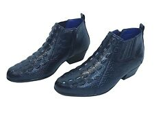 Mens Dress Shoes Roberto Chillini 5157 Navy Blue Zippered Boots Cuban Heel Gator