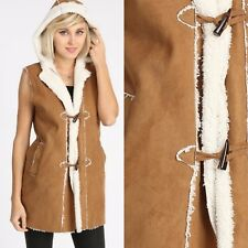 Faux Fur Hooded Long Vest Toggle Buttons Faux Shearling Lining Cognac