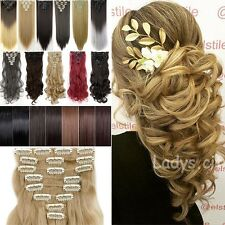 100% Natural 8 PIECES Clip in Hair Extensions Full Head Ombre Brown As Human F1P