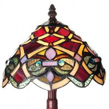 Tiffany Style Lamp Classic Handcrafted Vintage Stained Glass Table Desk, Red