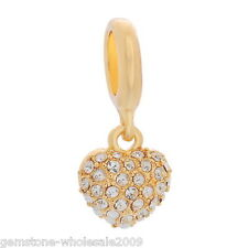 W09 Wholesale Lots Gold Plated Rhinestone European Charm Dangle Bead Pendant