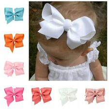 Pop 14cm Large Grosgrain Ribbon Hair Bows Flower Clip Baby Girl Accessories