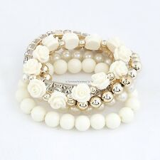 Mix Flower Beads Stretch Bracelet Temperament Alloy Resin Rhinestone Bangle FT