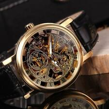 Classic Men's Golden Skeleton Hand-winding Mechanical Watch Leather Band K4C5