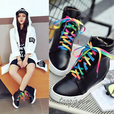 Women Korean Wedge Hidden Heel Fashion Sneakers Lace-up High Top Comfy Shoes