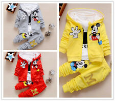 3pcs Kids Baby Clothing Boys Girls Hoodies Coat+T-shirt+Pants Mickey Costume Set