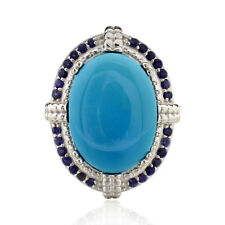 Sterling Silver Oval Turquoise and Iolite Ring