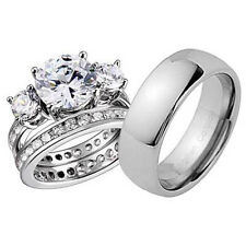 His and Hers Wedding Rings 3 pcs Engagement CZ Sterling Silver Titanium Set BM