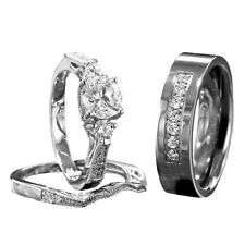 His Hers Wedding Ring Set Sterling Silver Round Cubic Zirconia Titanium Band ID