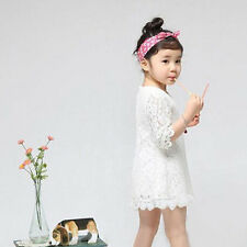 Beautiful Baby Girls Hollow Out Flower Dress Casual Kids Lace Party Dresses F5
