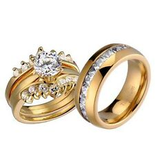 His and Hers Wedding Rings 3 pcs Engagement CZ Sterling Silver Titanium Set G