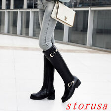Women Lady Low Heel Knee High Boots Buckle Knight Boots Casual Size Shoes New