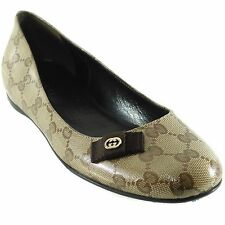 GUCCI 317040 Crystal Canvas GG Guccissima Flats 37.5 US7.5