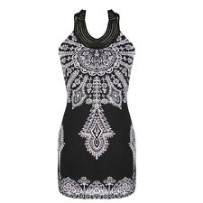 Exotic Totem Vintage Stand Collar Sleeveless Mini Dress FT