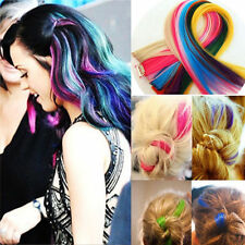 Clip On In Hair Extension Piece Synthetic Long Straight Gradient Colorful