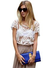 Sexy Women Summer Hollow-Out Blouse Embroidered Lace Crochet Short Sleeve Tops