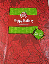 Happpy Holiday Red  Poinsettia  Flannel Back Vinyl Tablecloths Asst Sizes & XL
