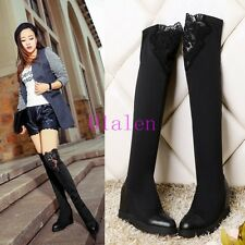 01 Womens Over The Knee Boots Lace Hollow Black Shoes Wedge Heels Winter Riding