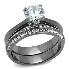 Round CZ Engagement Ring Set 7mm Stone Black Stainless Steel CZ Accents on Band