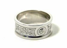 Celtic Wedding Band Mens Wide Sterling Silver Irish Made