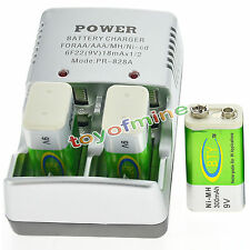 3 BTY 9v 9 Volt Rechargeable Battery 300mAh + Charger