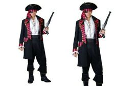 Black Buccaneer Pirate Costume Mens Adults Fancy Dress Pirates Outfit