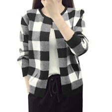 Women Checks Open Front Inverted Pleated Detail Loose Knit Cardigan