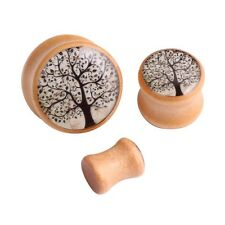 2pcs Wood Enamel Tree Flesh Ear Plug Tunnel Ear Expander Gauges Body Piercings