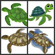 Nature's Bounty Beautiful Custom Turtle And Crab Embroidered Iron On Patches