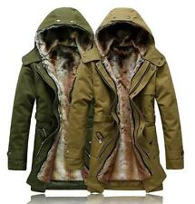 Hot Mens warm Fur coat Fur Collar Hooded Parka Winter Thick Casual Down Jacket