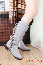 women Low Cuban Heel Faux Suede Mid Calf Boots Shoes Tassel Knight Boots Size