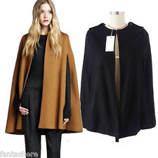 Chic Womens Autumn Cape Coat Batwing Cloak Loose Poncho Warm Jacket Outerwear