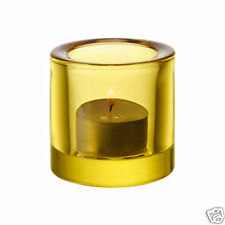 "IITTALA GLASS ""KIVI"" candle holder or votive FINLAND MARIMEKKO ""Lemon Yellow"""