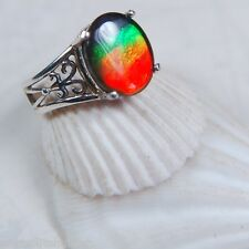 Genuine Canadian GRADE AA Ammolite Jewelry Ring 925 Sterling Silver #033002**