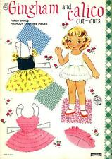 1960's GINGHAM AND CALICO CUT-OUTS PAPER DOLLS, PUSHOUT, Saalfield Uncut, Fine