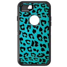 CUSTOM OtterBox Defender for iPhone 6 6S 7 PLUS Teal Black Leopard Skin Spots