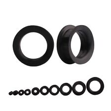 Black Flexible Silicone Large Ear Gauges Flesh Ear Tunnel Plugs Double Flared