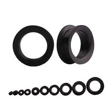 Black Ear Gauges Flexible Silicone Large Ear Tunnel Plugs Double Flared Flesh